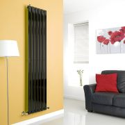 Milano Alpha - Black Flat Panel Vertical Designer Radiator - 1780mm x 420mm