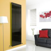 Milano High-Gloss Black Vertical Single Slim Panel Designer Radiator 1780mm x 560mm