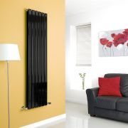 Milano Alpha - Black Vertical Flat Panel Designer Radiator - 1600mm x 420mm (Double Panel)