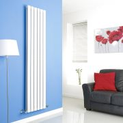Milano Alpha - White Flat Panel Vertical Designer Radiator - 1780mm x 420mm (Double Panel)