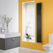 Milano High Gloss Black Space-Saving Vertical Designer Radiator 1600mm x 236mm