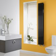 Milano High Gloss Black Space-Saving Vertical Designer Radiator 1600mm x 236mm (Double Panel)