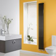 Milano High Gloss Black Space-Saving Vertical Designer Radiator 1780mm x 236mm