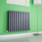 Milano Alpha - Anthracite Flat Panel Horizontal Designer Radiator - 635mm x 840mm (Double Panel)