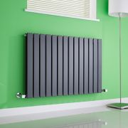 Milano Alpha - Anthracite Horizontal Flat Panel Designer Radiator - 635mm x 980mm (Double Panel)