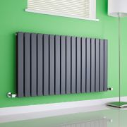 Milano Alpha - Anthracite Horizontal Flat Panel Designer Radiator - 635mm x 1190mm (Double Panel)