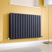 Milano Alpha - Black Horizontal Flat Panel Designer Radiator - 635mm x 980mm (Double Panel)