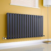 Milano Alpha - Black Horizontal Flat Panel Designer Radiator - 635mm x 1190mm