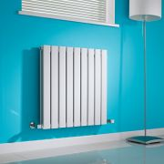 Milano Alpha - White Flat Panel Horizontal Designer Radiator - 635mm x 630mm (Double Panel)