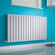 Milano Alpha - White Horizontal Double Slim Panel Designer Radiator 635mm x 1190mm