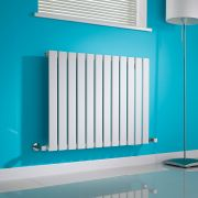 Milano Alpha - White Horizontal Single Slim Panel Designer Radiator 635mm x 840mm
