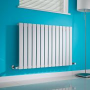 Milano Alpha - White Horizontal Single Slim Panel Designer Radiator 635mm x 980mm