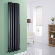 Milano Viti - Black Vertical Diamond Panel Designer Radiator - 1600mm x 420mm (Double Panel)