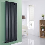 Milano Viti - Gloss Black Vertical Diamond Panel Designer Radiator 1600mm x 560mm
