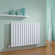 Milano Alpha - White Horizontal Slim Panel Bluetooth Equipped Electric Designer Radiator - 635mm x 980mm
