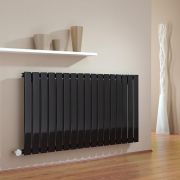Milano Alpha - Black Horizontal Slim Panel Bluetooth Equipped Electric Designer Radiator - 635mm x 1190mm