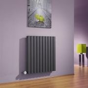 Milano Capri - Anthracite Horizontal Flat Panel Bluetooth Equipped Electric Designer Radiator - 635mm x 600mm