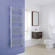Milano Ribble Electric - Flat Chrome Heated Towel Rail 1500mm x 600mm