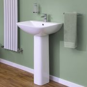 Milano Longton - 550mm Basin with Full Pedestal - 1 Tap-Hole