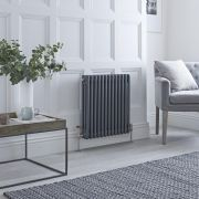 Milano Windsor - Anthracite Horizontal Traditional Column Radiator - 600mm x 605mm (Triple Column)