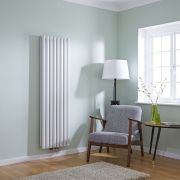 Milano Aruba Flow - White Vertical Double Panel Middle Connection Designer Radiator 1600 x 472mm