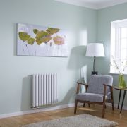 Milano Aruba Flow - White Horizontal Middle Connection Designer Radiator - 635mm x 595mm (Double Panel)