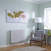 Milano Aruba Flow - White Horizontal Double Panel Middle Connection Designer Radiator 635 x834mm