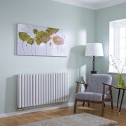 Milano Aruba Flow - White Horizontal Middle Connection Designer Radiator - 635mm x 1180mm (Double Panel)