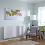 Milano Aruba Flow - White Horizontal Double Panel Middle Connection Designer Radiator 635 x 1411mm