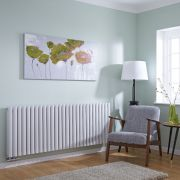 Milano Aruba Flow - White Horizontal Double Panel Middle Connection Designer Radiator 635 x 1647mm