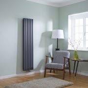 Milano Aruba Flow - Anthracite Vertical Double Middle Connection Designer Radiator 1600 x 354mm