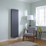 Milano Aruba Flow - Anthracite Vertical Middle Connection Designer Radiator 1600mm x 472mm (Double Panel)