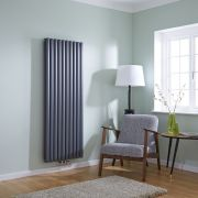 Milano Aruba Flow - Anthracite Vertical Middle Connection Designer Radiator 1600mm x 590mm (Double Panel)
