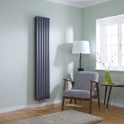 Milano Aruba Flow - Anthracite Vertical Middle Connection Designer Radiator 1780mm x 354mm (Double Panel)