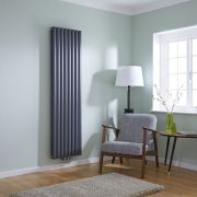 Milano Aruba Flow - Anthracite Vertical Middle Connection Designer Radiator 1780mm x 472mm (Double Panel)