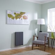 Milano Aruba Flow - Anthracite Horizontal Double Middle Connection Designer Radiator 635 x 415mm