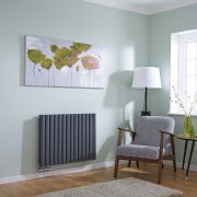 Milano Aruba Flow - Anthracite Horizontal Middle Connection Designer Radiator - 635mm x 834mm (Double Panel)