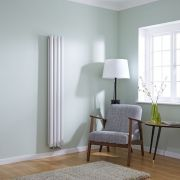 Milano Aruba Flow - White Vertical Middle Connection Designer Radiator - 1600mm x 236mm (Double Panel)