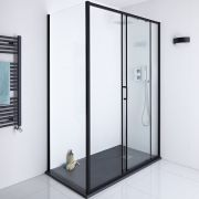 Milano Nero Glass Shower Side Panel - Black - 900mm x 1950mm