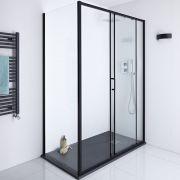 Milano Nero Glass Shower Side Panel - Black - 900mm x 1950mm