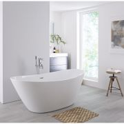 Milano Irwell - White Modern Oval Double-Ended Freestanding Bath - 1570mm x 785mm (No Tap-Holes)