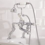Hudson Reed Topaz Lever Deck Mounted Bath Shower Mixer Tap Dome Collars