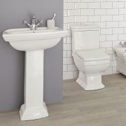 Milano Sandringham - Traditional Close Coupled Toilet and 1 Tap-Hole Pedestal Basin Set