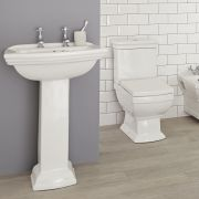 Milano Sandringham - Traditional Close Coupled Toilet and 2 Tap-Hole Pedestal Basin Set