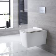 Milano Elswick - White Modern Square Wall Hung Toilet with Soft Close Seat