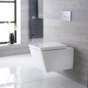 Milano Dalton - White Modern Square Wall Hung Toilet with Soft Close Seat - 350mm x 360mm