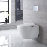 Milano Altham - White Modern Round Wall Hung Toilet with Soft Close Seat - 360mm x 385mm