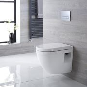 Milano Newby - White Modern Round Wall Hung Toilet with Soft Close Seat - 400mm x 360mm