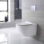 Milano Overton - White Modern Round Wall Hung Toilet with Soft Close Seat - 340mm x 360mm