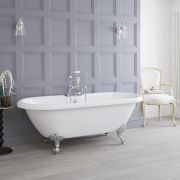 Milano - White Traditional Roll Top Freestanding Bath with Choice of Feet - 1795mm x 785mm (2 Tap-Holes)